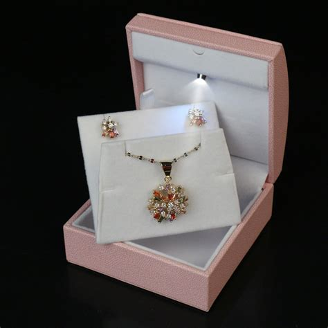 pink color necklace jewelry box packaging jewelry set box
