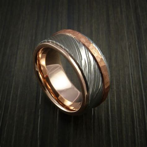 damascus steel 14k gold ring wedding band with
