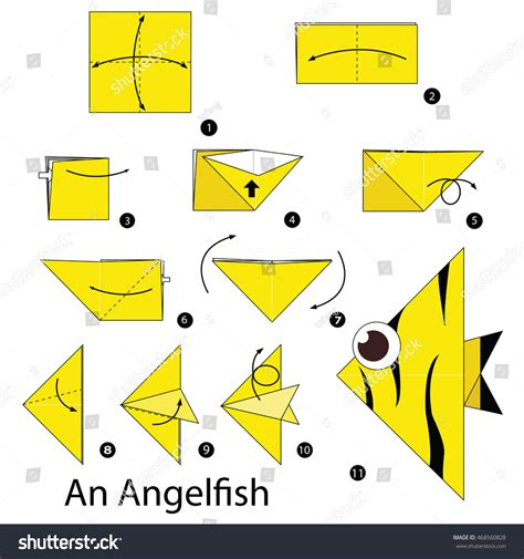 How To Make An Origami Angelfish - step by step how make stock vector 468560828