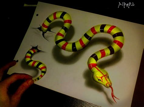 How To Make A 3d Snake Out Of Paper - realistic 3d drawing green snake time lapse