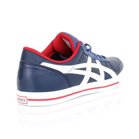 mens asics aaron navy blue white leather lace up casual