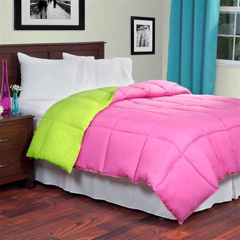 pink down comforter lavish home reversible pink lime down alternative queen