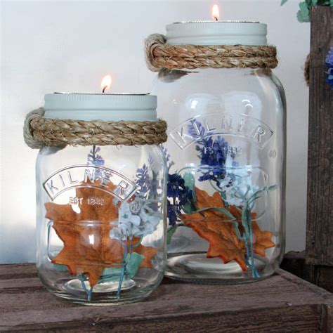 decorative jam jar vase and candle holder by unique s co notonthehighstreet com