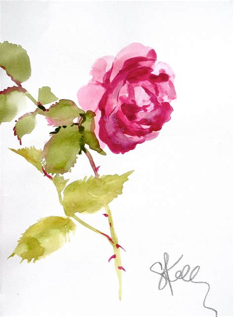 water color flower another look pink stem watercolor flower by