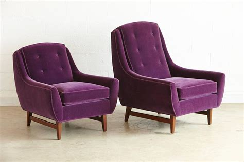 purple velvet chair and ottoman pair of adrian pearsall his and hers lounge chairs and