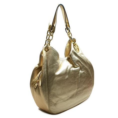 michael kors fulton large leather shoulder tote pale gold