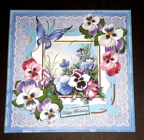 Handmade All Occasion Greeting Cards - handmade greeting card 3d all occasion card with pansies