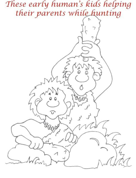 early humans coloring page early humans printable coloring page for kids 10