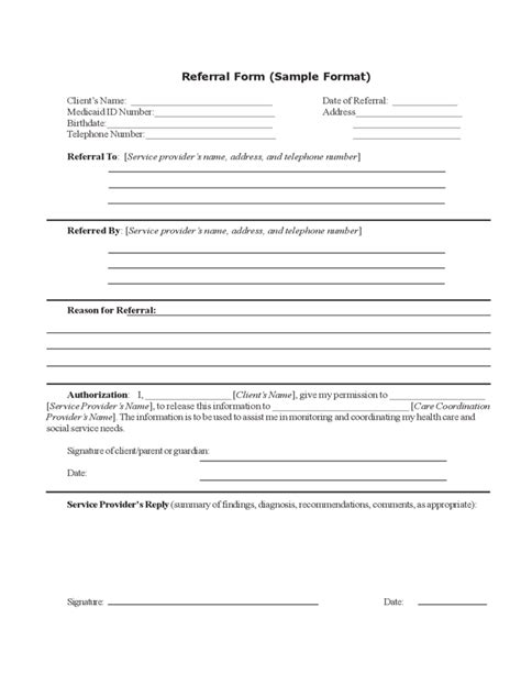 Employee Referral Form Format Free Download Referral Form Template Free