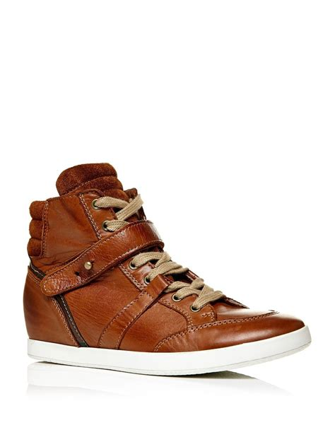 Wedges Amara moda in pelle amara wedge lace up trainers in brown lyst
