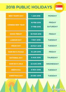 Calendar 2018 Singapore With Holidays 9 Weekends In Singapore In 2018 Bonus Calendar