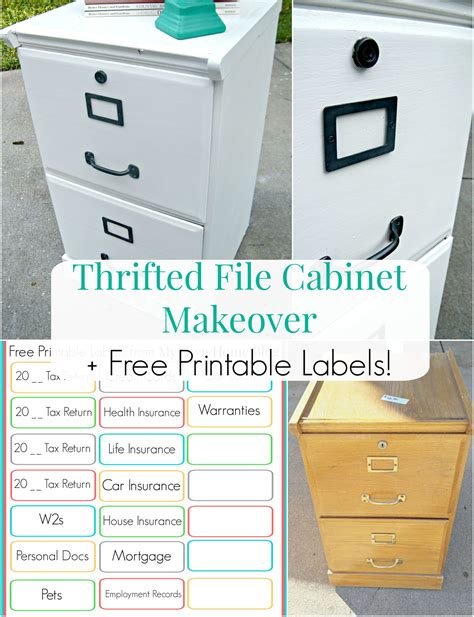 filing cabinet labels thrifted file cabinet makeover free printable labels my own home