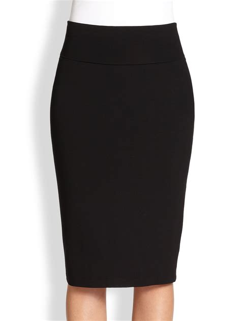 knit pencil skirts eileen fisher knit pencil skirt in black lyst