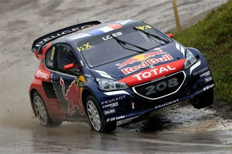 peugeot canada rallycross loeb hansen and their peugeot 208 wrxs