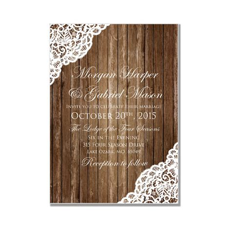 rustic wedding invitation wood and lace wedding invitation rustic wedding invitation country chic rustic wood lace lace wedding diy wedding