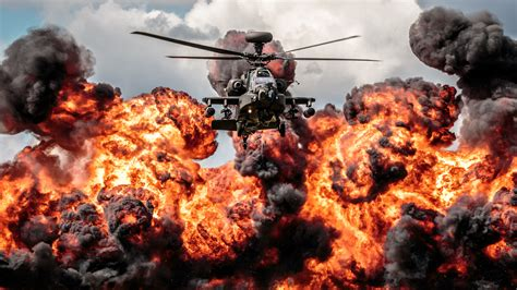 helicopter apache explosion fire hd desktop wallpaper