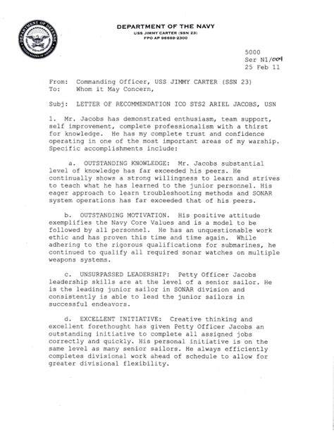 Recommendation Letter Navy Letters Of Recommendation