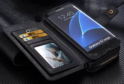 Samsung S7 Edge Magnet Wallet Leather Zipper Cover Dompet Armor brg samsung galaxy s7 edge multi functional 2 in 1 zipper