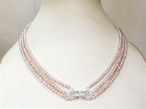 Handmade Pearl Jewelry Designs - vintage style three strand genuine pink pearl necklace
