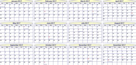 Year Calendar Clipart 2017 Year Month Calendar
