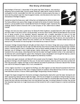 The Story of Beowulf - GCSE Reading Comprehension / Text   TpT