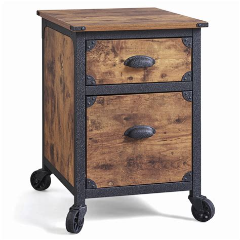 Industrial Rustic Wood Black Metal 2 Drawer File Cabinet 2 Drawer Black Wood File Cabinet