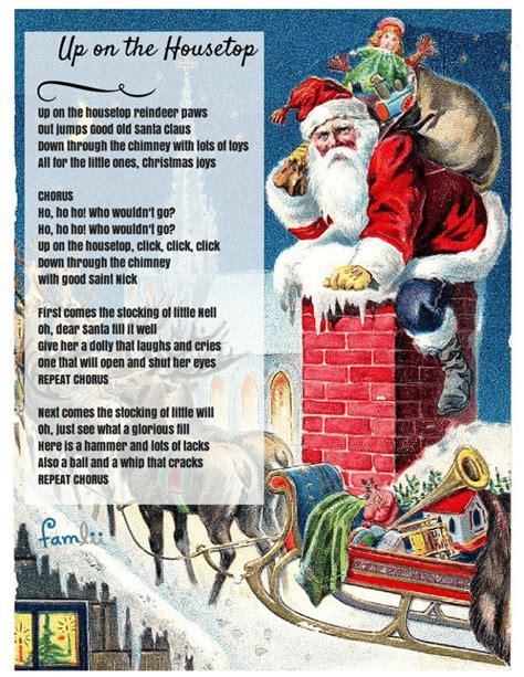 free printable lyrics to up on the housetop click click click up on the housetop lyrics famlii