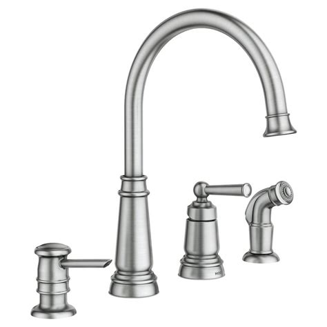 moen kitchen faucet shop moen edison spot resist stainless 1 handle deck mount high arc kitchen faucet at lowes