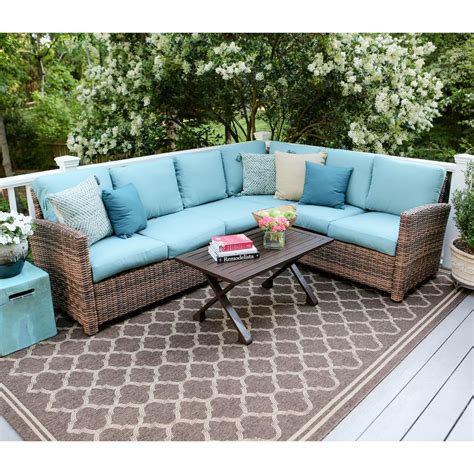 home depot outdoor sectional dalton 5 piece wicker outdoor sectional set with blue