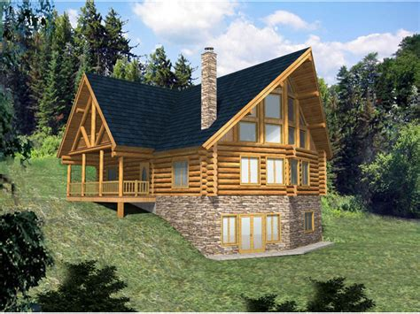small cabin plans with basement hickory creek a frame log home plan 088d 0033 house