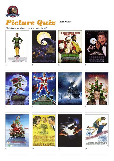 film themed quiz team names quiz 51 our bumper christmas quiz the collingwood arms