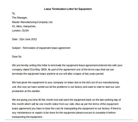 Lease Agreement Ending Letter Lease Termination Letter 6 Free Word Pdf Documents