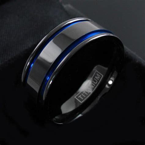 gunmetal titanium s blue stripe wedding band