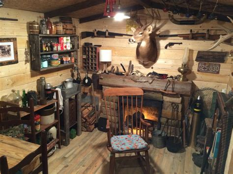 this built a rustic cabin cave in his basement for