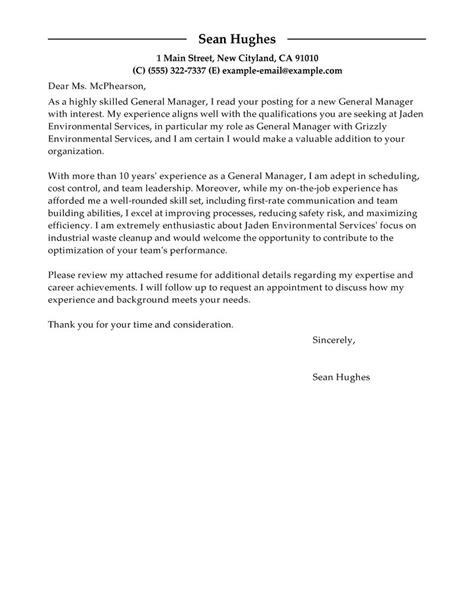 cover letter for general position leading professional general manager cover letter exles