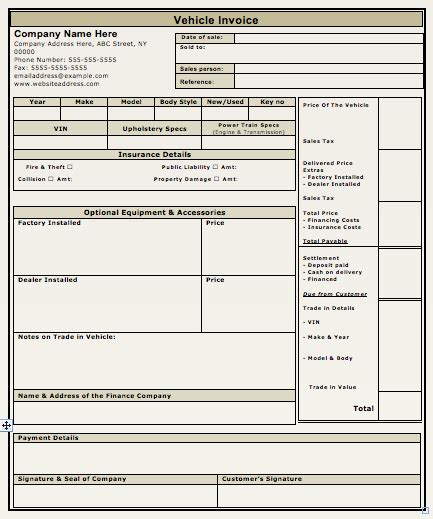 vehicle sales invoice template free invoice templates