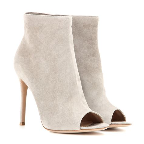 gianvito open toe suede ankle boots in gray lyst