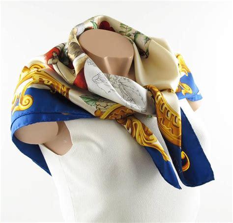 Japanese Design Print Scarf vintage christian silk twill scarf japanese vases design at 1stdibs