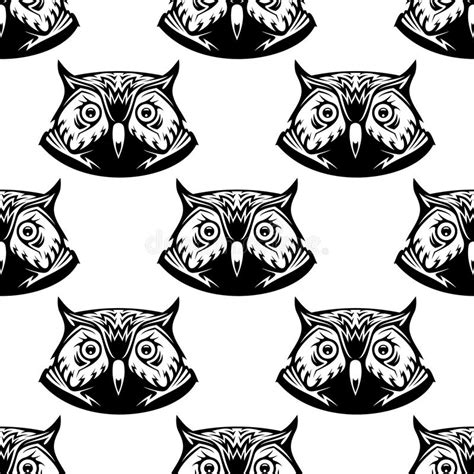 black and white owl pattern seamless pattern of wise owl heads stock vector image