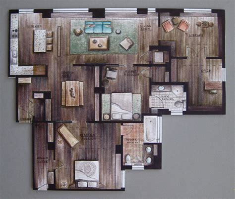 hand rendered floor plan hand rendering interiors google search rendering
