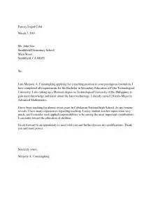 covering letter for application of college application letter