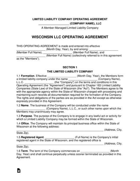 Wisconsin Multi-Member LLC Operating Agreement Form