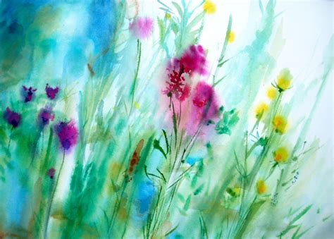 pretty painted floors with flower designs misty morning wet on wet watercolor painting flowers art