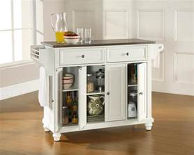 White Kitchen Island by Crosley Furniture Cambridge Stainless Steel Top Kitchen