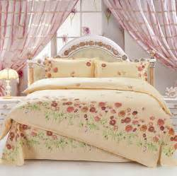 yellow shabby chic bedding 4pcs size brown orange peony flowers green