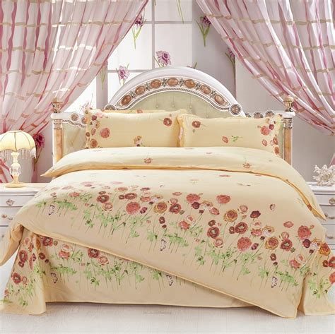 4pcs twin full size brown orange peony flowers green yellow floral bedding shabby chic bedding