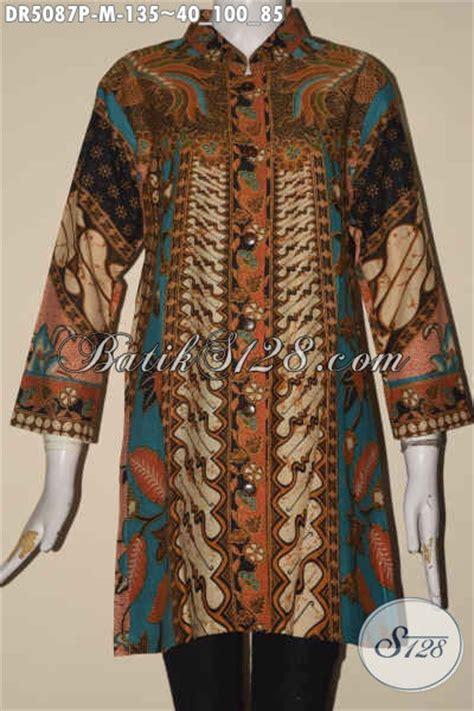 Baju Atasan Lengan Panjang Cewek Motif Batik Import Murah model kerah sanghai dress batik dengan model kerah