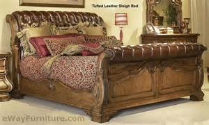 Leather Sleigh Bed Giovanna Tufted Leather Sleigh Bed