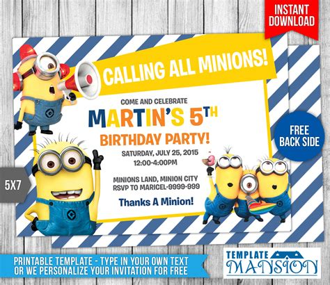 birthday card template minions minions birthday invitation 7 by templatemansion on