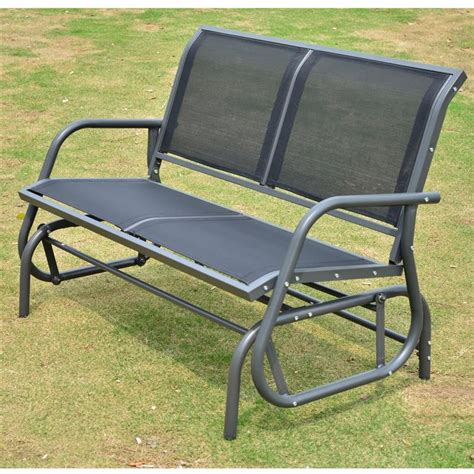 outsunny 48 quot outdoor patio swing glider bench chair black